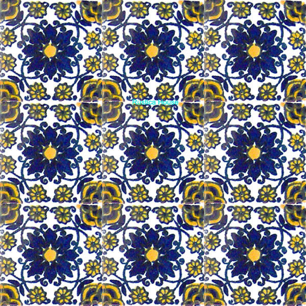 old European cobalt talavera tile