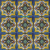 mexican yellow light blue talavera tile