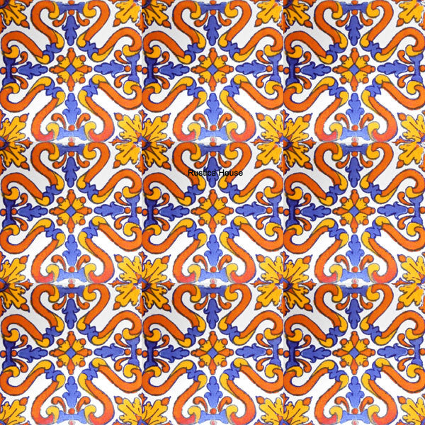 old world terracotta blue talavera tile