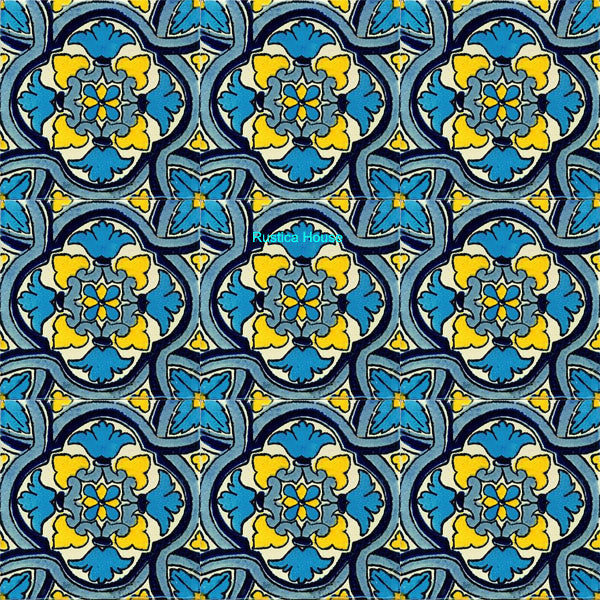 old world sky blue talavera tile
