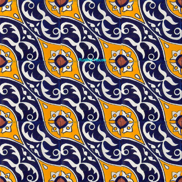colonial yellow dark blue talavera tile