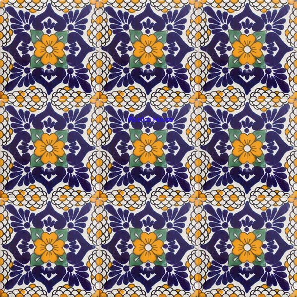traditional navy blue yellow talavera tile