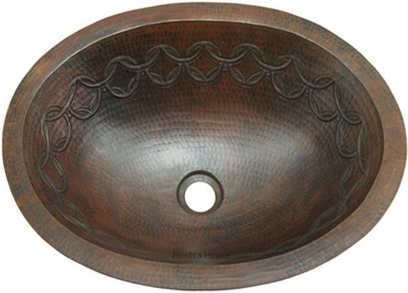 old European oval copper bathroom sink