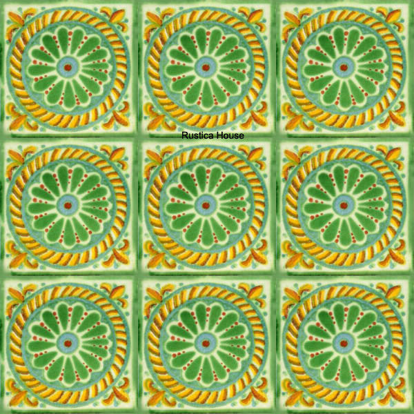 old European green yellow talavera tile