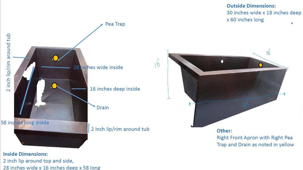 Custom Copper Drop-in Bathtub with Apron
