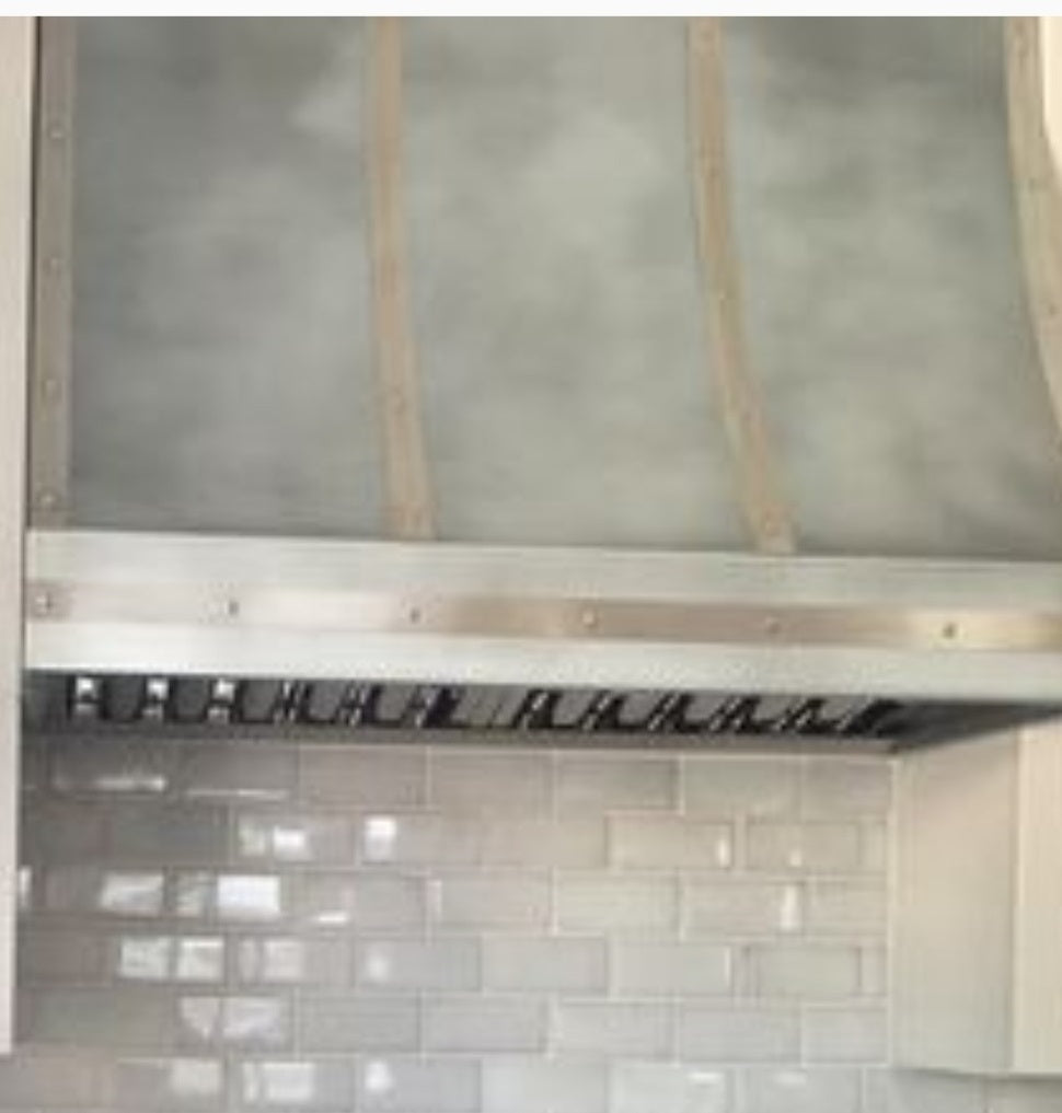 custom metal kitchen vent hood with recirculating insert