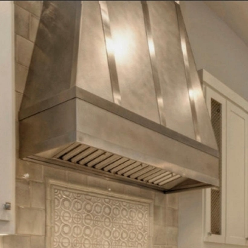 custom hight ceiling kitchen zinc range hood