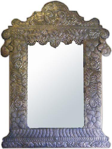 custom made mexican punched tin mirror frame