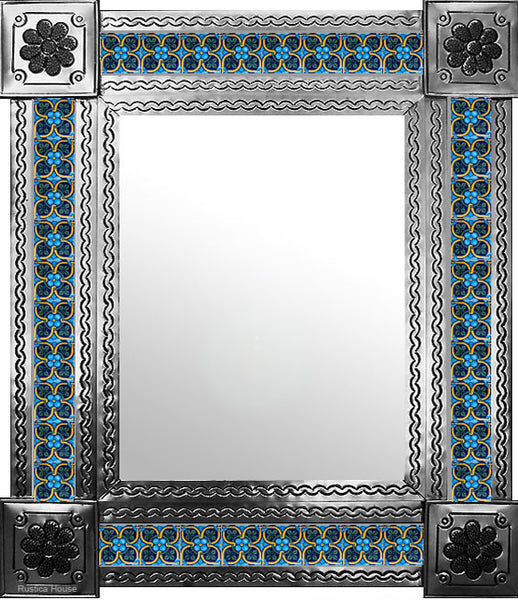 made by hand natural tin tile mirror yellow green blue