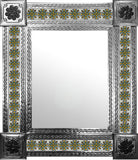 mexican natural tin tile mirror yellow green white