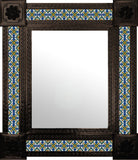 hand punched dark metal tile mirror green blue white