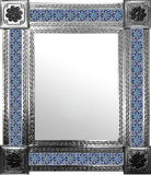 handmade natural tin tile mirror blue green
