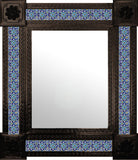 handmade dark metal tile mirror blue green