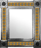 hand fabricated natural tin tile mirror sky blue terracotta yellow