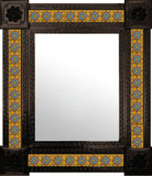 hand fabricated dark metal tile mirror sky blue terracotta yellow