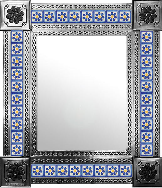 artisan created natural tin tile mirror yellow blue white