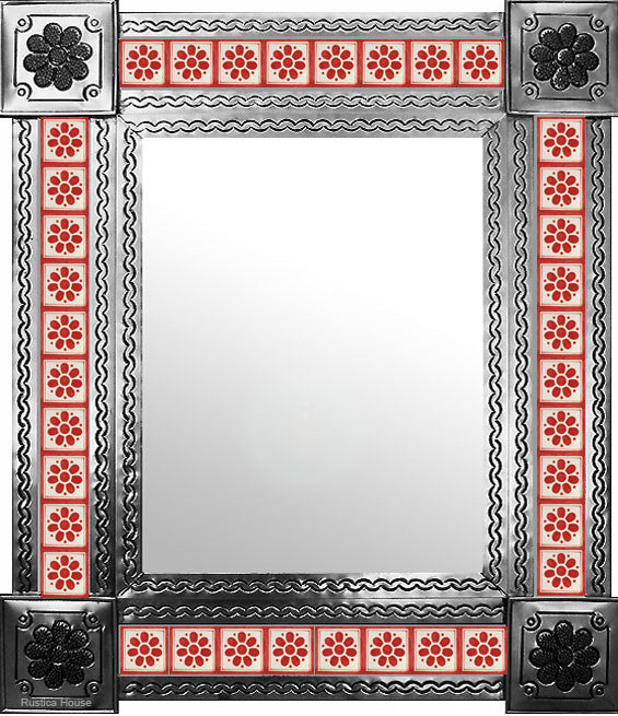 hand hammered natural tin tile mirror red white