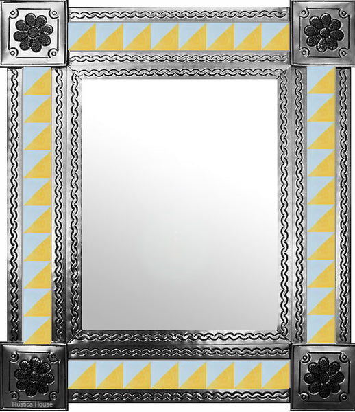 handcrafted natural tin tile mirror light blue light yellow