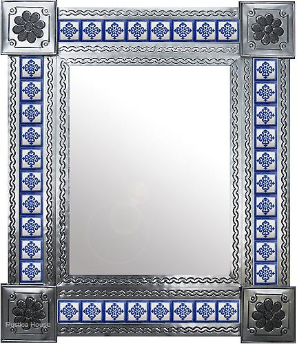 natural tin tile mirror