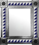made by hand natural tin tile mirror navy blue white