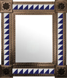 made by hand old copper tin tile mirror navy blue white