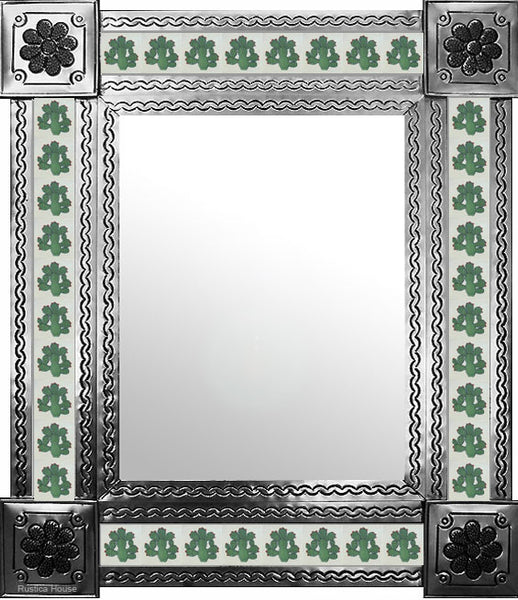 handmade natural tin tile mirror green white
