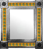 produced by hand natural tin tile mirror green yellow
