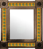 produced by hand dark metal tile mirror green yellow