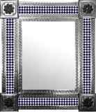 hand fabricated natural tin tile mirror dark blue white