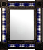 hand fabricated dark metal tile mirror dark blue white