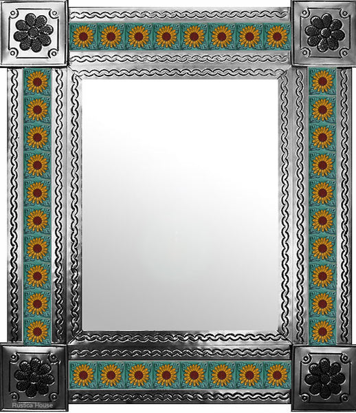 hand hammered natural tin tile mirror yellow terracotta green