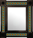 hand hammered dark metal tile mirror yellow terracotta green