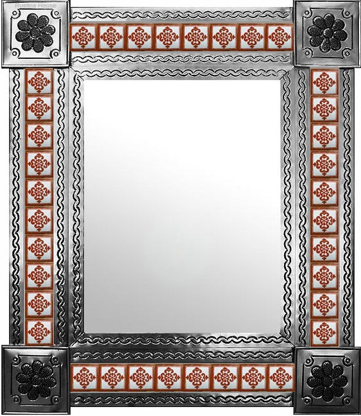 handmade natural tin tile mirror terracotta white
