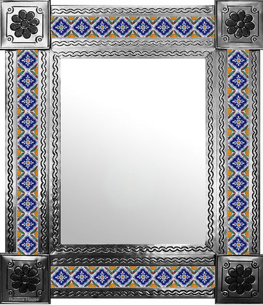 made by hand natural tin tile mirror yellow navy blue white