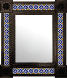 made by hand dark metal tile mirror yellow navy blue white