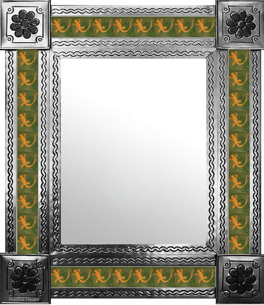 handmade natural tin tile mirror yellow green