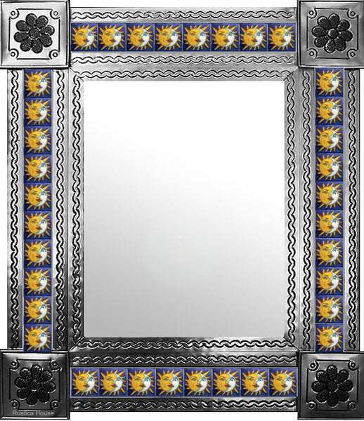 produced by hand natural tin tile mirror yellow white blue