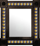 produced by hand dark metal tile mirror yellow white blue