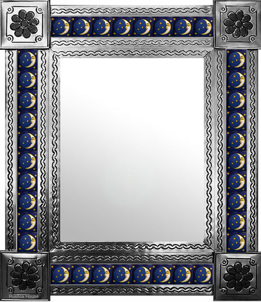 hand fabricated natural tin tile mirror white yellow dark blue