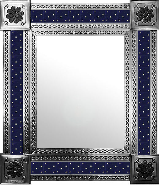 artisan created natural tin tile mirror white cobalt