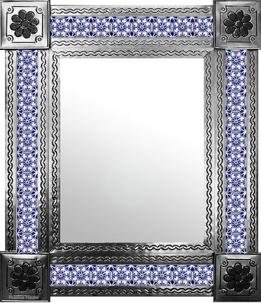 hand hammered natural tin tile mirror blue white