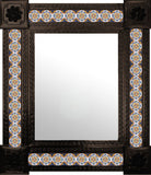 handcrafted dark metal tile mirror navy blue yellow white