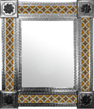 made by hand natural tin tile mirror yellow green white