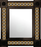 made by hand dark metal tile mirror yellow green white