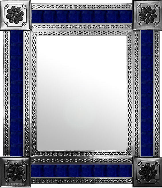 produced by hand natural tin tile mirror cobalt