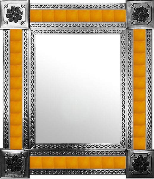 hand fabricated natural tin tile mirror yellow