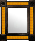 hand fabricated dark metal tile mirror yellow