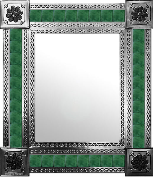 artisan created natural tin tile mirror green