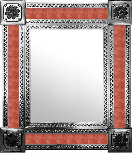 hand hammered natural tin tile mirror terracotta