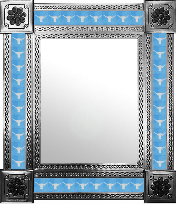 punched natural tin tile mirror white sky blue
